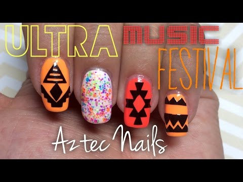 China Glaze Electric Nights: Ultra Music Festival Aztec Nails | Nail Polish Pursuit