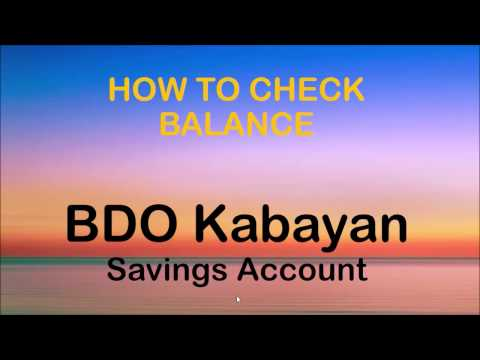 How to Check Balance in BDO Kabayan Savings Account