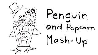 Penguin and Popcorn Drawing Mash-Up