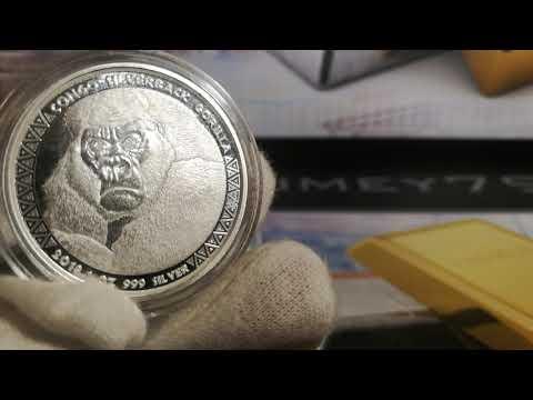 -- 2018 1oz 999 Republic of Congo Silverback Gorilla Fine Silver Coin from Scottsdale mint!--