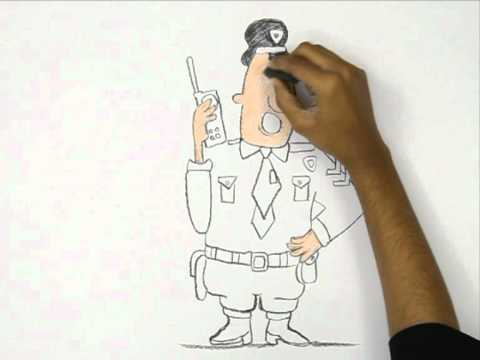 How to Draw a Cartoon Traffic Police - YouTube