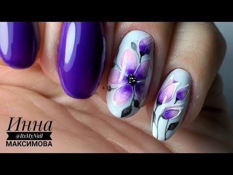 Дизайн цветы на ногтях
