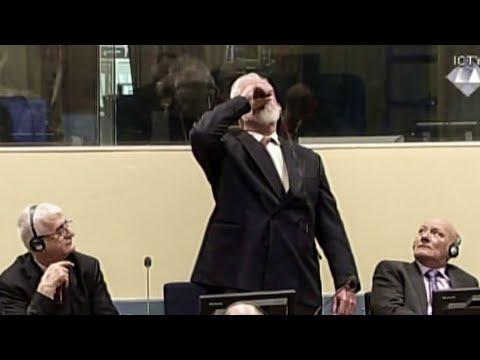 Bosnian Croat war criminal dies after drinking poison in court