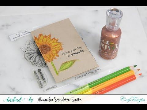 Cardmaking Tutorial: HNDMD Sunflower No Line Color On Kraft Cardstock & Chameleon Colored Pencils