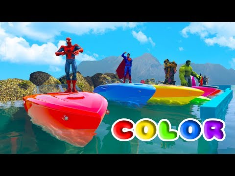 Thumbnail: FUN COLOR BOATS w/ SUPERHEROES Learn Colors For Children and Nursery Rhymes Songs