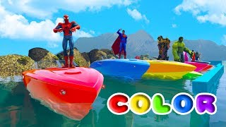 FUN COLOR BOATS w/ SUPERHEROES Learn Colors For Children and Nursery Rhymes Songs