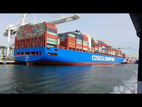 Ferry Ride View. Container Ship x 4 Westbound. Port of Oakland. Nov 2017.