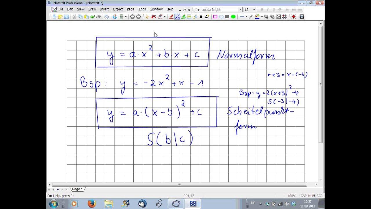Bestimmen der Scheitelpunktform einer quadratischen ...