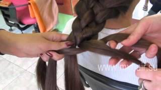 Коса из 5 прядей: классическая