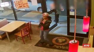 Woman Smashes Window In Fast Food Restaurant Popeyes
