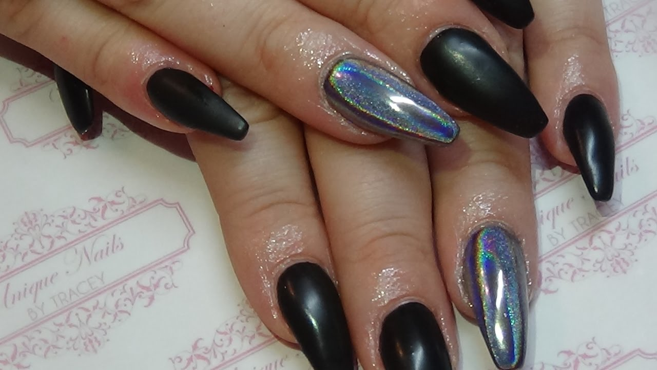 Matt black acrylic nails with holo powder - YouTube