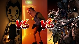 BENDY AND THE INK MACHINE VS HELLO NEIGHBOR VS FNAF - w/Little Kelly, Sharky & Scuba Steve|Minecraft