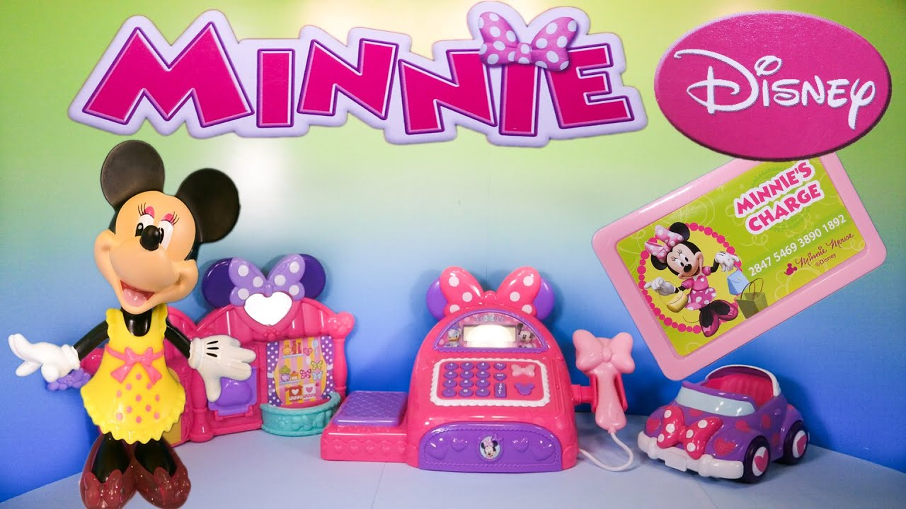 Unboxing the Minnie\'s Bowtique Cash Register Toy - YouTube