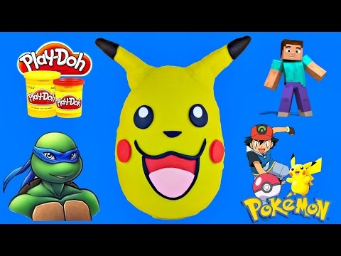 Giant Pikachu Surprise Egg Play Doh Pokemon Toys With