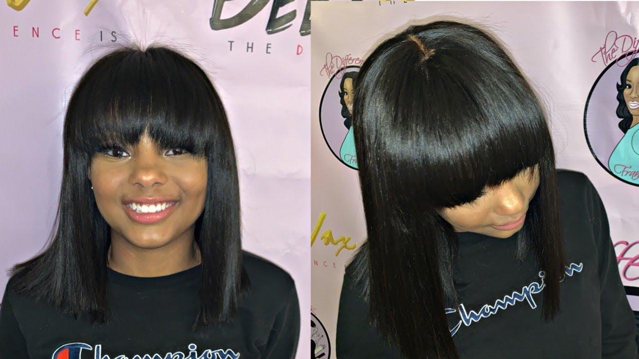 blunt cut sew-in bob w/bangs using a closure!!! | julia hair