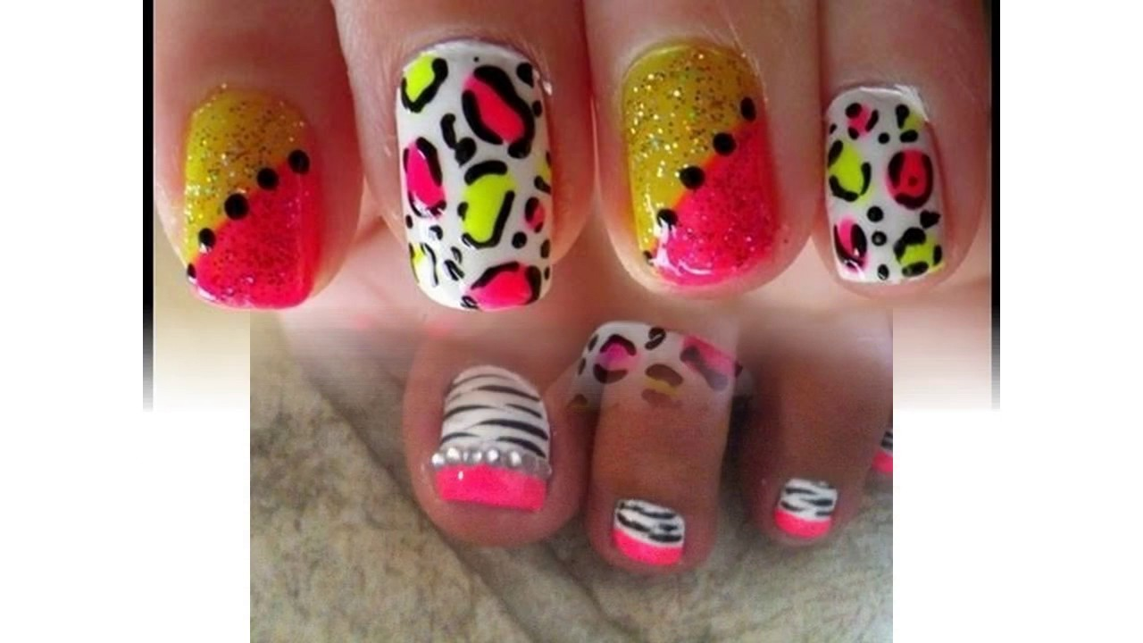 Tendencias en Uñas decoradas con colores neon - YouTube