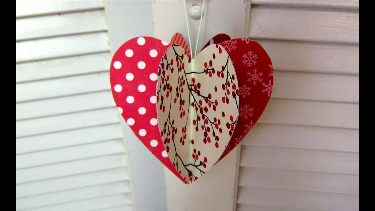Mothers day paper heart decoration card youtube for Heart decoration ideas