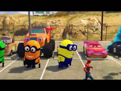 Disney McQueen Lightning with Minions Kid cars 3 Smokey s Moon Tow Cam Mater Blaze learning colors