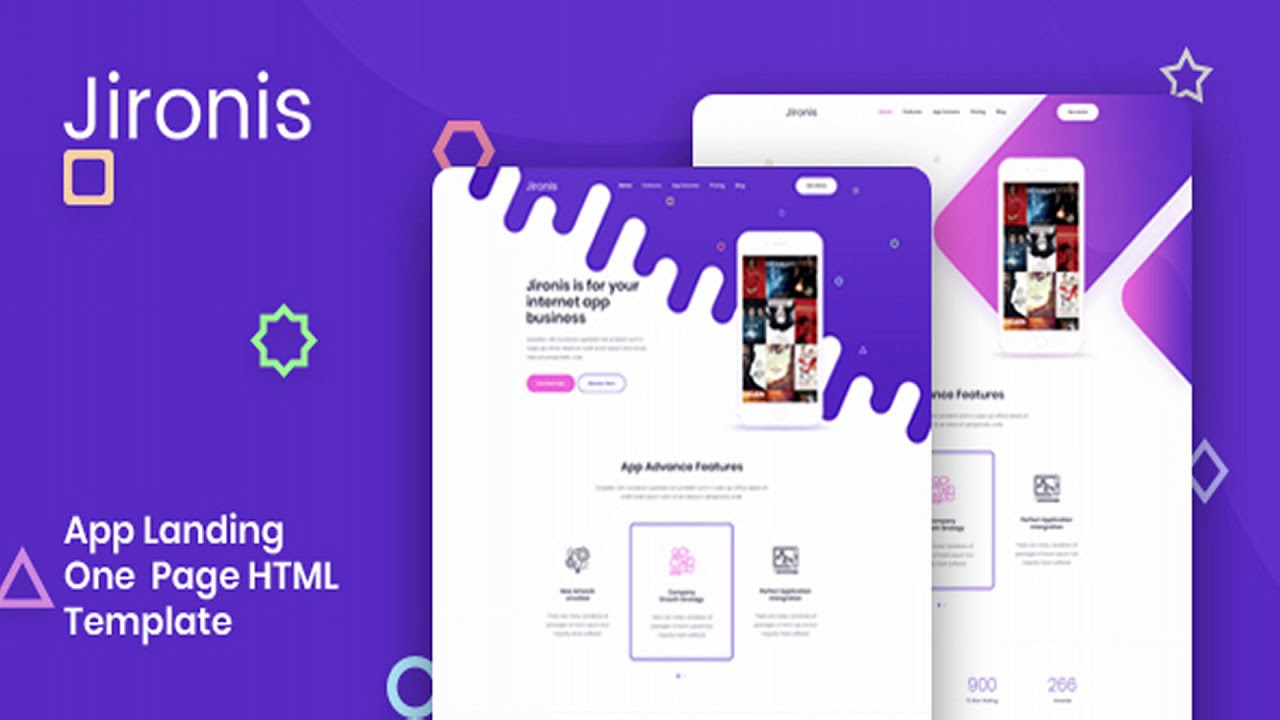 Jironis - App Landing One Page HTML Template   Themeforest Website  Templates and Themes