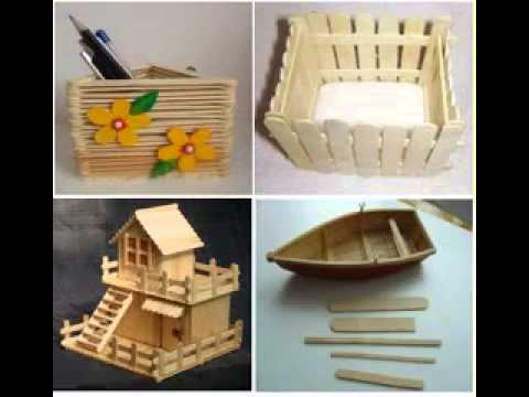 Creative ice cream stick craft ideas youtube for Models on best out of waste