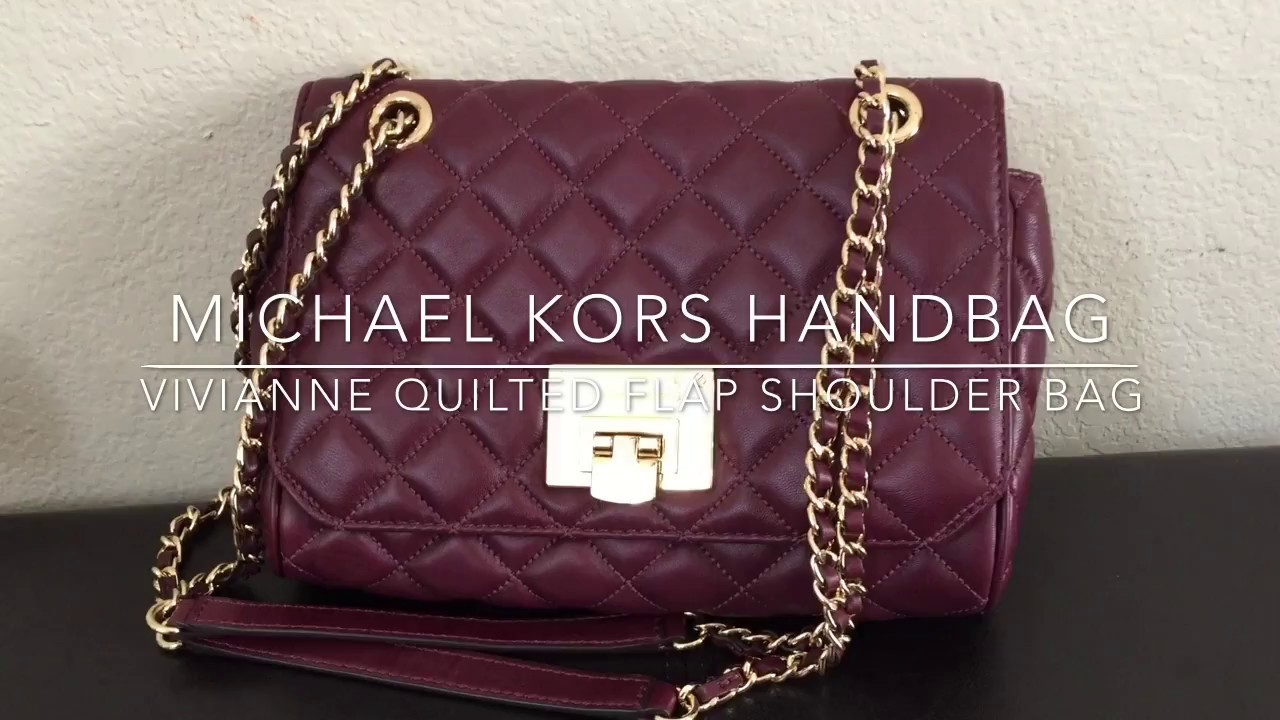 f5c5059af5da Michael KORS VIVIANNE QUILTED Leather FLAP SHOULDER BAG - YouTube