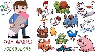 kids Vocabulary | Farm Animals Vocabulary for Kids| Toddler Learning Video