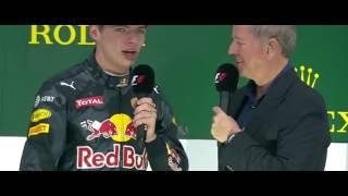 Interview Max Verstappen op het podium na GP Brazilie