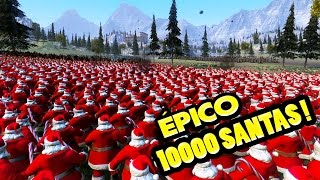10000 SANTA CLAUS vs Ejercito Medieval con CATAPULTAS !! | Ultimate Epic Battle Simulator |