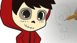 Cómo dibujar a Miguel con disfraz