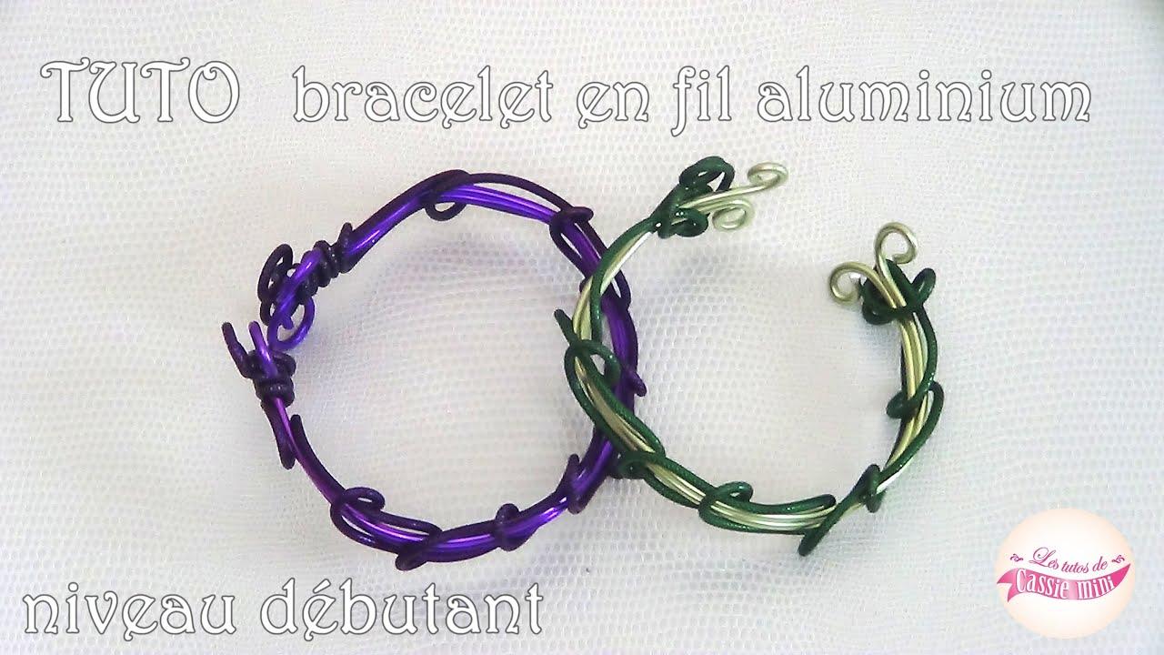 tuto bracelet en fil aluminium 1 niveau debutant