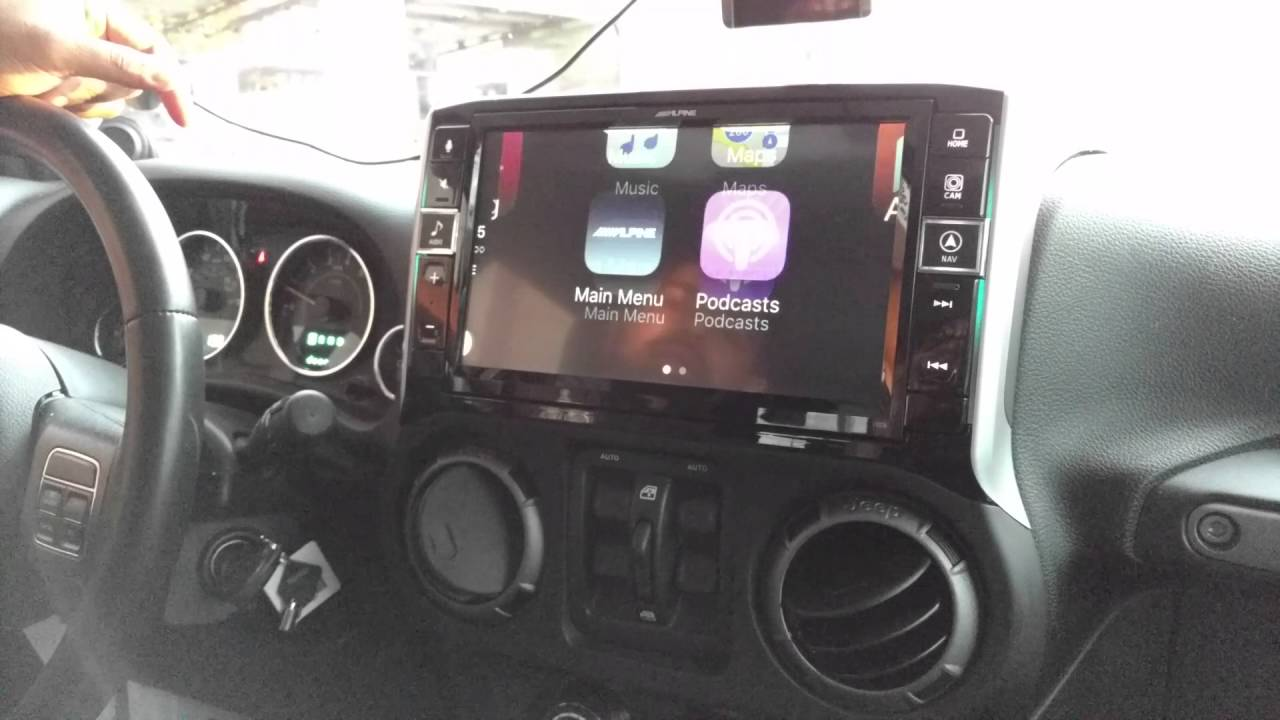 2013 jeep wrangler alpine 9 in dash radio w apple carplay. Black Bedroom Furniture Sets. Home Design Ideas