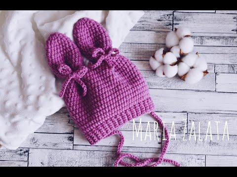 Детские шапки с ушками крючком