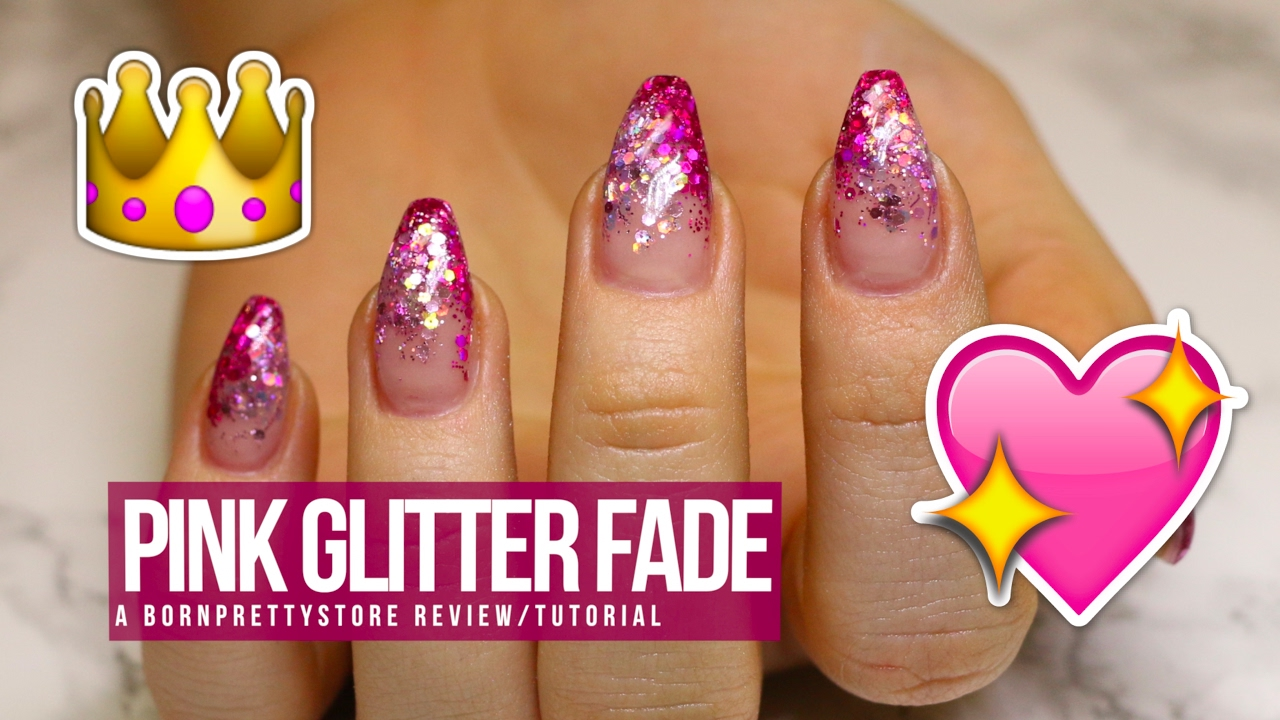 Acrylic Gel Nail Design A Bps Review Tutorial Pink Glitter Fade