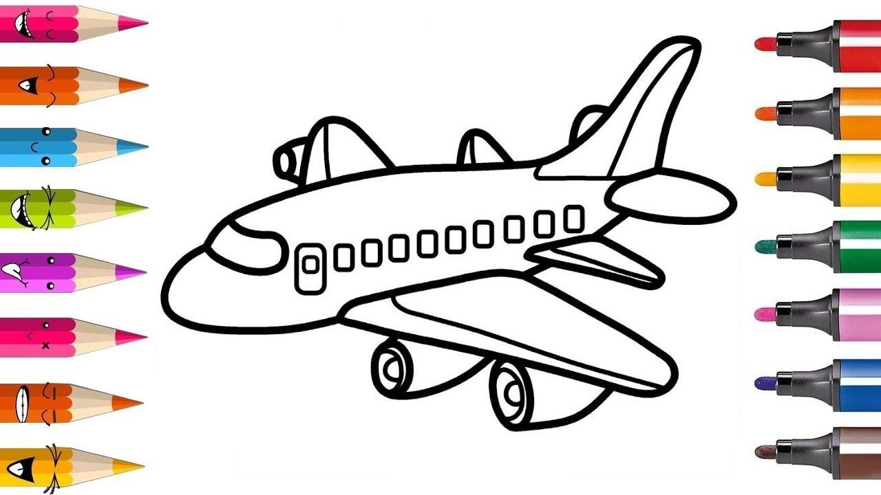 Colorer Et Apprendre A Dessiner Un Avion Video Educative Planete Coloriage Youtube