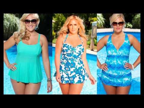Красивое платье-купальник для полных женщин