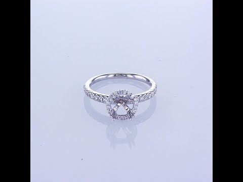 0.38CT 18KT WHITE GOLD ROUND HALO DIAMOND ENGAGEMENT RING WITH DIAMOND ON THE SHANK