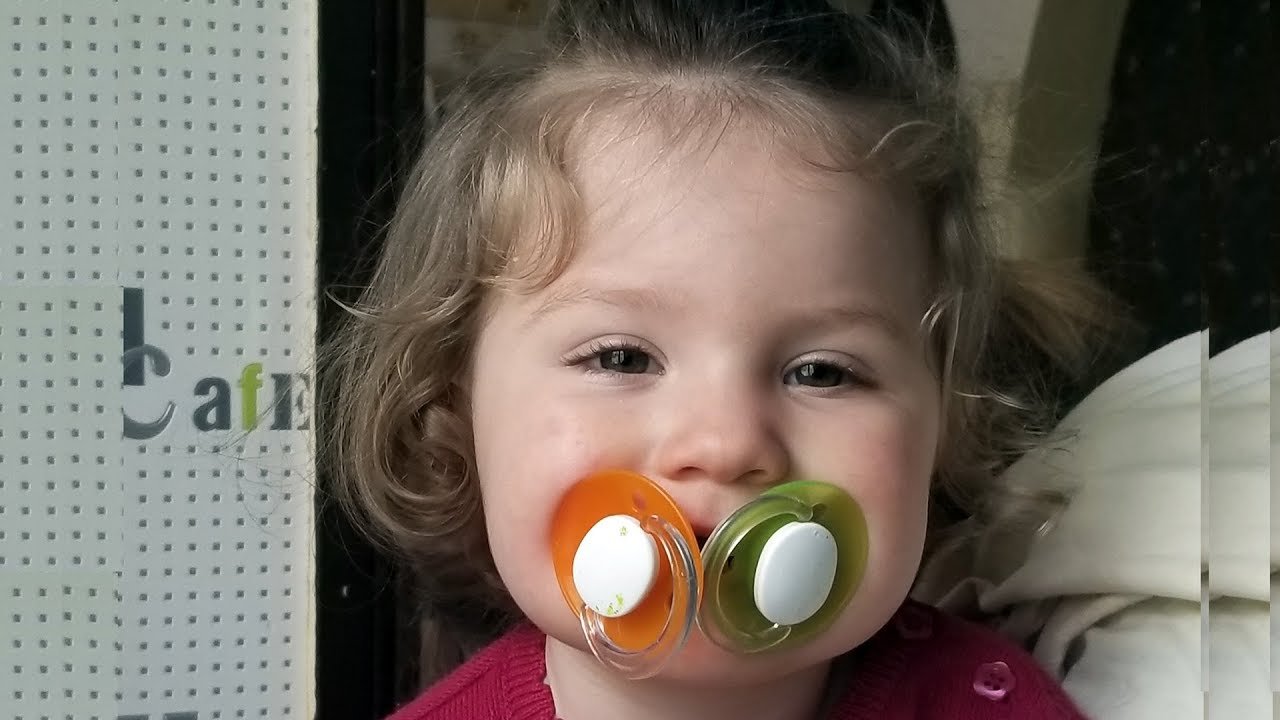 CUTE TODDLER using TWO Pacifiers in the same Time - Baby Lile Playing Funny Videos