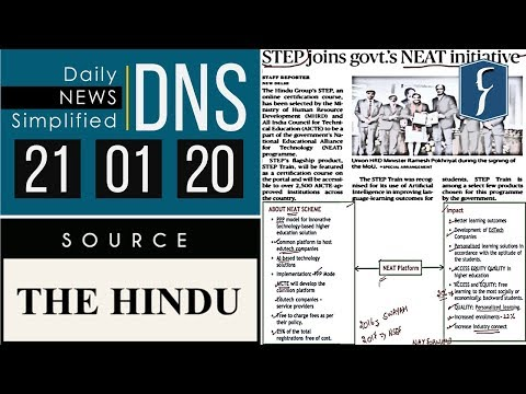 Daily News Simplified 21-01-20 (The Hindu Newspaper - Current Affairs - Analysis For UPSC/IAS Exam)