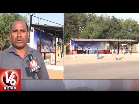 Visaka Industries 'Atum' Solar Panel Bus Stops Constructed At Miyapur | Hyderabad | V6 News