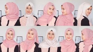 10 لفات حجاب في دقيقة ♦ لكل يوم - للعمل و الجامعة - ♦ Everyday Simple Hijab Tuto