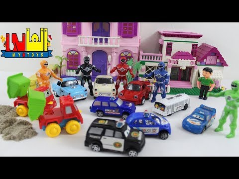 اكبر لعبة سيارات شرطة حقيقية للاطفال وسارق السيارات العاب اولاد وبنات Real huge police car toy game