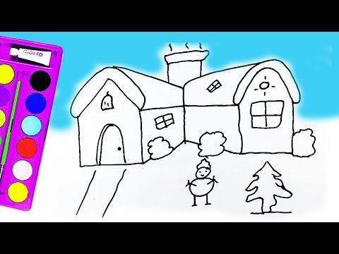 how-to-draw-houses,-snowman-and-coloring-pages-houses,-snowman-for-kids-jelly-toys