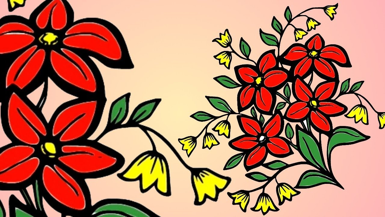 Drawing FLOWER AND COLORING ! KIDS LEARN COLOR BY DRAWING FLOWERS ...