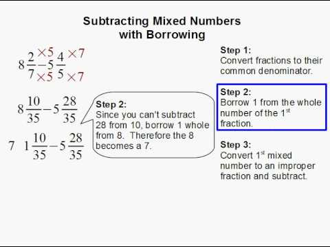 math worksheet : how to subtract mixed numbers with borrowing  youtube : Subtracting Mixed Numbers With Renaming Worksheet