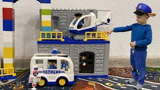Полицейская машина потеряла колёса Тимур играет в полицию и в полицейские машинки игрушки