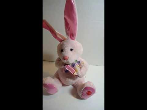 Animated Musical Plush Stuffed Easter rabbit bunny Peter Cottontail on harmonica