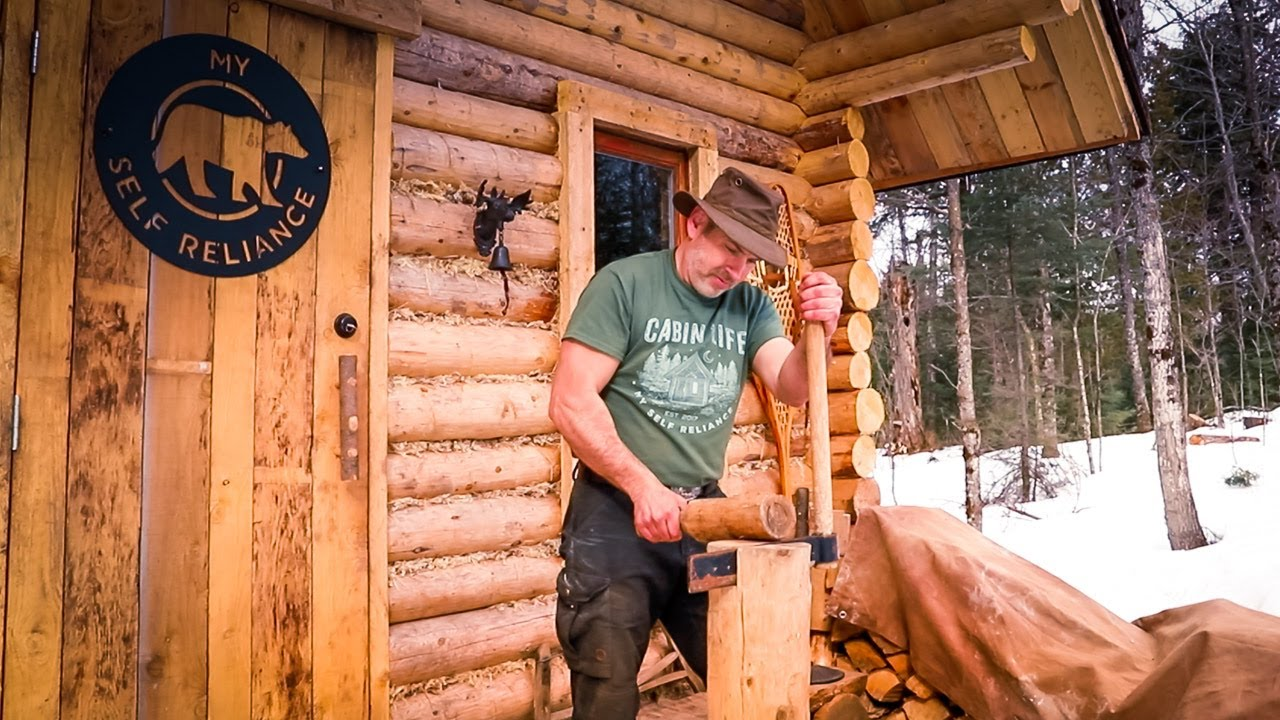 making-cedar-shakes-for-the-forest-kitchen-roof-at-the-off-grid-log-cabin