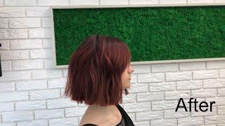 Короткая женская стрижка Классический боб Ровная линия Classic bob Short women haircut