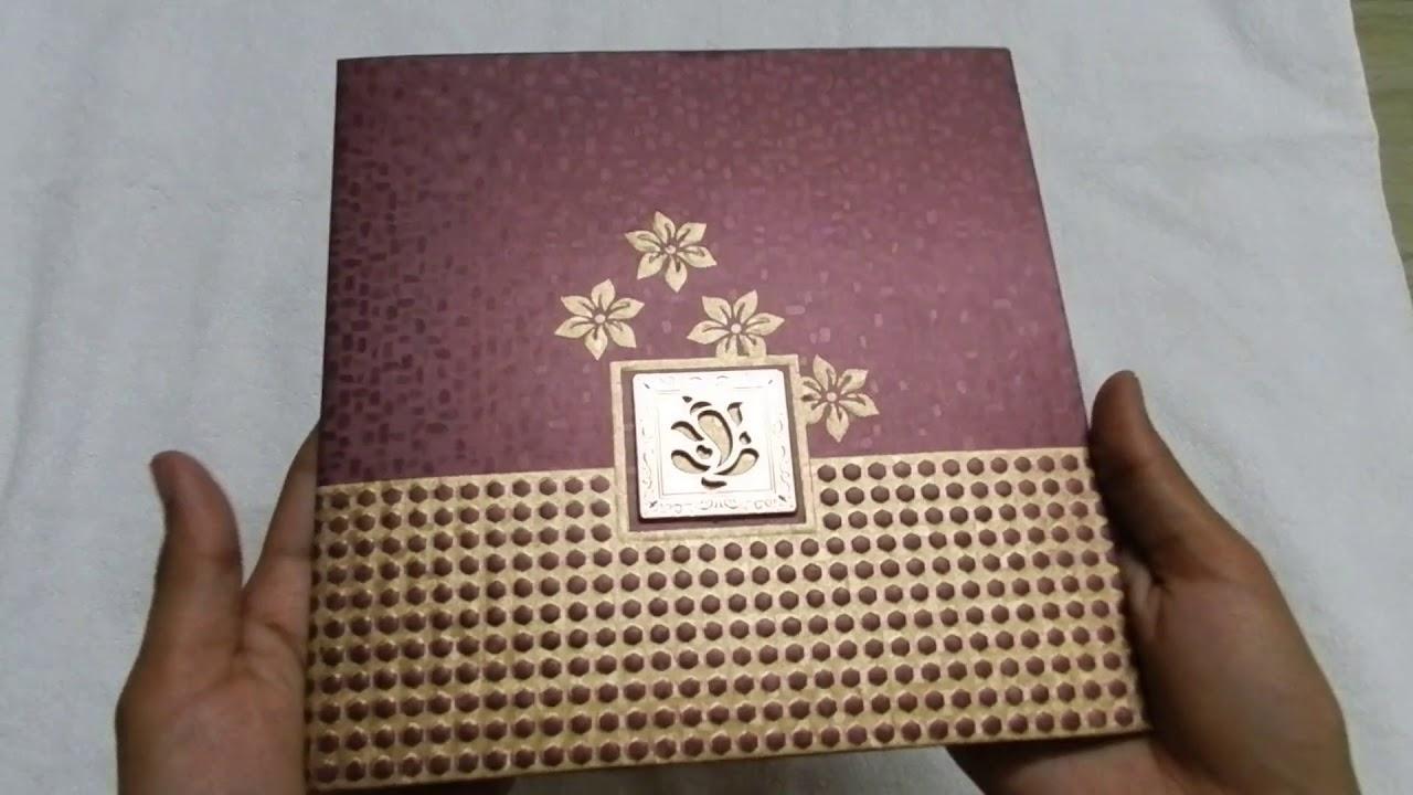 Golden Maroon Indian Wedding Invitation Card with Acrylic Ganesha BCWC6510  - YouTube