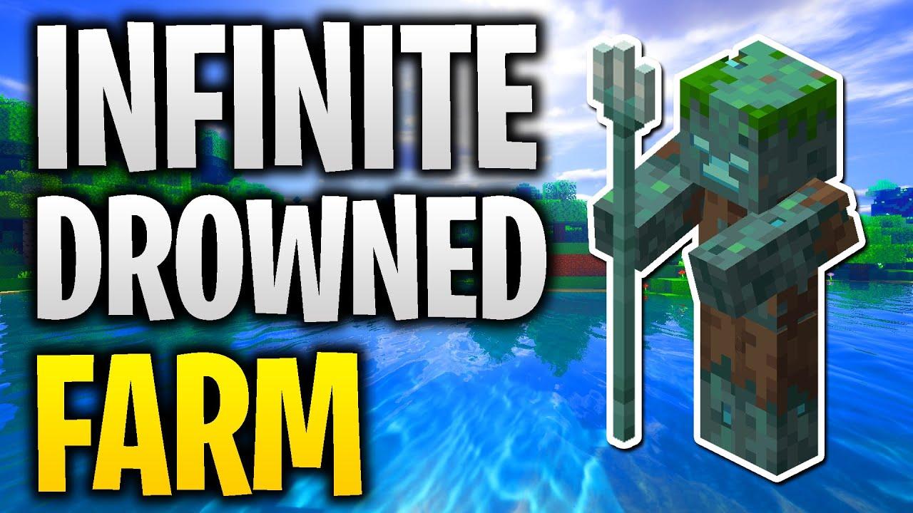 INFINITE DROWNED FARM! (Minecraft Bedrock Drowned Farm ...